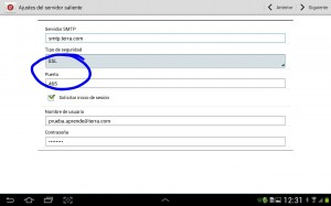 configurar servidor saliente terra